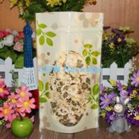 10 * 15 cm Válvula con cierre hermético Cremallera PE Empaque Bolsa Levántese la bolsa Plástico Verde Hoja Ziplock Paquete de almacenamiento de alimentos Doypack Bolsa de ventana