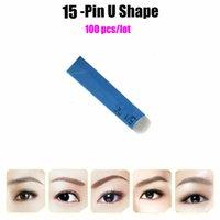 18 Pin U Agujas de Tatuaje de Forma Maquillaje Permanente Ceja Bordado Hoja Para 3D Microblading Tatuaje Manual Pluma 100 Unids / lote