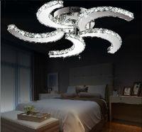 الجديدة الحديثة بريق الكريستال بقيادة أضواء شكل مروحة السقف لغرفة المعيشة وغرفة نوم وغرفة الدراسة منزل الديكور والإضاءة مصابيح LLFA