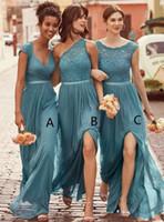 2020 neue Brautjungfernkleider gemischt Teal Juwel Hals Illusion für Hochzeiten Spitze Applikationen Chiffon Split seit langer plus größe