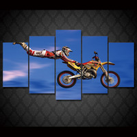 5 Pcs Set Framed HD Printed motocross jumps Group Painting w...