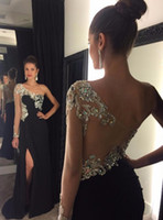 Sexy Black One Shoulder 2017 Prom Dresses Long Sleeves Front...