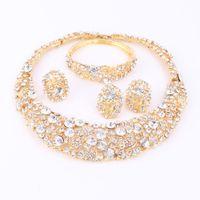 Kadınlar Altın Kaplama Boho Kristal Takı Seti Kolye Küpe Ile Bilezik Yüzük Doğrudan Satış Bildirimi Parti Düğün Jewellry Setleri Için