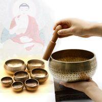 Himalayan mano martellato chakra meditazione ciotola decorativa-muro-piatti yoga tibetano buddista buddista in ottone canto ciotola