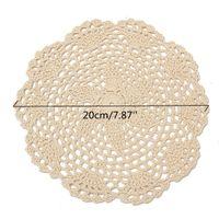 Vente en gros - 12Pcs ronde Vintage coton mat à la main au crochet dentelle dentelle napperons dessous de table lot ménage table décoratif artisanat accessoires