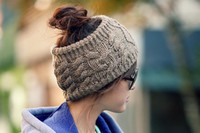 Womens Knitting Wool Sport Gorro Beanie Top Hollow Off para Ponytail Cabello Casual Sport Warm High Quality Chicas jóvenes Cap