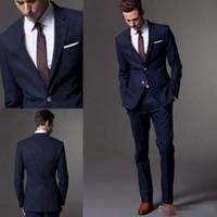 Maßgeschneiderte dunkelblaue Männer anzug, maßgeschneiderte Anzug, maßgeschneiderte leichte navy blaue Hochzeitsanzüge für Männer, slim Fit Bräutigam Smoking für Männer
