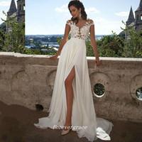 Bohemian Country Style Blanc Applique longue robe de mariée de haute qualité A Ligne de mousseline de mousseline de mousseline haute fente fente femme porter une robe de mariée plus la taille