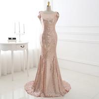 На Заказ Розовое Золото Невесты Платье Vestido Де Мадринья Лонго Блестки Платье Партии Trouwjurken Халаты Femmes En Soldes На Складе