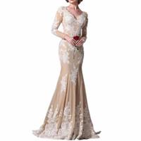 Tiefer V-Ausschnitt Tüll A-Linie Elegant Langarm Party Trompete Homecoming Abendkleid Abendkleid