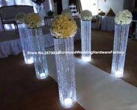 Más popular centro de la boda o evento de cristal pasarela pilar soporte de flores al por mayor