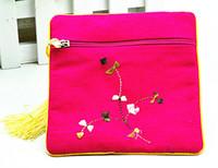 Hohe Qualität Stickerei Floral Zip Taschen Kleine Baumwolle Lien Reisen Schmuck Geschenk Beutel Chinesische Quaste Armband Aufbewahrungsbeutel Geldbörse