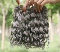 Prata Cinza Profundo Curly Extensões de cabelo humano Grey brasileiro do cabelo humano tece cinza escuro Onda Curly extensões 3pcs Lot chegam novas Venda