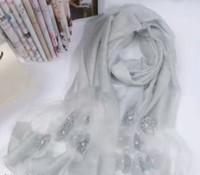 2017 جديد الحرير الصوف إمرأة الزهور اللؤلؤ وشاح شال لفاف مختلط 5 قطعة / الوحدة # 4023