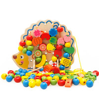 Learning Education Wooden Toys Hedgehog Fruit Beads Montesso...