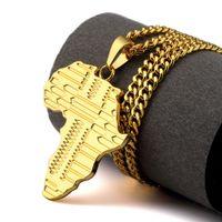 Mapa de África Pingente Colares Homens Jóias Hip Hop Hipster Presente Banhado Ouro Cadeia Longa Colar Mens Jóias Collier