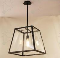 RH Lighting LOFT Pendant Light Restoration Hardware Vintage Pendant Lamp Filament Pendant Edison Bulb Glass Box RH Loft lights Hanging Light