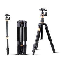 Tripés de câmera QZSD Q555 extensível 55.5 Polegadas de Liga de Alumínio Tripé de Vídeo Da Câmera Monopé Com Placa de Liberação Rápida Stand TB