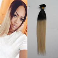 Блондинка прямой бразильский кератин человека Фьюжн волос ногтей U Совет 1B / 613 два тона ломбер человеческие волосы 100 г 1 г/прядь кератина Бонд наращивание волос