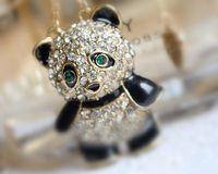 Agréable!!! Belle!!! Mignonne!!! Goutte à goutte simple et belle plein diamant amour chaîne de pull panda collier en gros livraison gratuite
