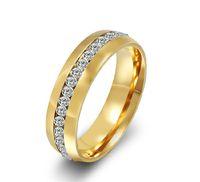 50% KORTING! Groothandel 18K Gold Filled Top Class Tungsten Rhinestones CZ Diamond Studded Eternity Wedding Band Ring Dames Gratis Verzending Retail