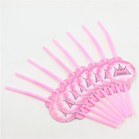 Wholesale Baby Shower Favors Party Drinking Straws Birthday Decorations  Princess Pink Crown Event Party Supplies 20pcs