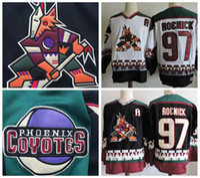 Phoenix Coyotes Vintage Jeremy Roenick Old Hockey Jersey Vintage 97 Jeremy  Roenick Black White CCM Stitched Arizona Coyote Jerseys A Patch 224845e38