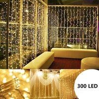 3M x 3m 300 LED 조명 웨딩 크리스마스 문자열 생일 파티 야외 홈 따뜻한 흰색 장식 요정 커튼 화환