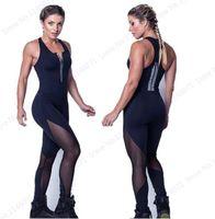 Seksi Siyah Mesh Patchwork Tulum Bodycon Fitness Salonu Tulumlar Tozluk Derin V Boyun Fermuar Bodysuit Sıkı kadın Playsuits