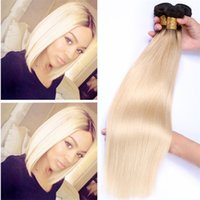 Platinum Blonde Dark Roots Ombre Malaysian Hair #1b 613 Ombr...