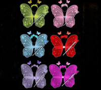 FREE SHIPPING Butterfly wing set(wing,headband,fairy wand)/Angel wing/Party accessories 6colours