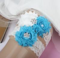 Gelin Garters Rhinestone İnciler Kristal Boncuk Turkuaz Çiçekler Gelin Gelin Düğün Için Garters Garters Artı Boyutu Fabrika Toptan