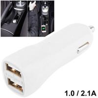 미니 유니버셜 5V-2.1A / 1A 듀얼 USB 포트 여행 자동차 충전기 어댑터 휴대 전화 태블릿 PC 500pcs / lot