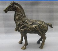 وضع الصينية النحاس القديم دليل مزدهرة الأعمال الحصان الميمون تمثال