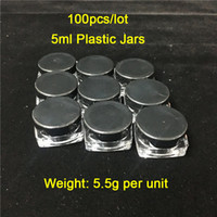 Cheap 100Pieces Lot 5ml g Black Lids & Square Base Plastic C...