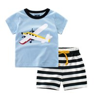 Crianças Terno Europa New Summer Terno Bebê Cotions Impressão T-shirt de Manga Curta + Cross Stripe Cin calha 2pcs B4745