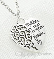 Mother&daughter heart pendant necklace chain alloy pendant n...