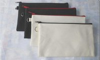 19.5 * 11 cm Bolsas de cosméticos de lona de algodón negro DIY Mujeres en blanco Zumpa liso Bolsa de maquillaje Teléfono Embrague Bolsa Regalo Organizador Casos