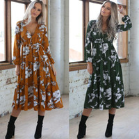 Vintage Autumn Dress For Womens Ladies Long Maxi Dress V Nec...