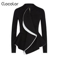 Wholesale- Clocolor Femmes Blazer Coat Manteau 2017 Printemps Noir Tops Filles Blazer O Traque Zipper Coucher Porter Longue manches Peplum Femmes Blazer