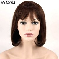 Dark Brown Synthetic Hair Thin Bang Short Wavy High Temperat...
