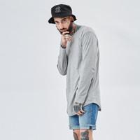 2017 Streetwear Moda t shirt hip hop magliette per uomo extended longline kanye west Top loose fit bianco tshirt TX144 RF
