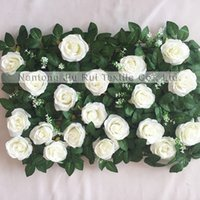 JR0530 Envío Gratis Venta Caliente Fiesta Barata / Etapa de Boda Artificial Befutiful Rose Green Leaves Flower Wall Teldrop