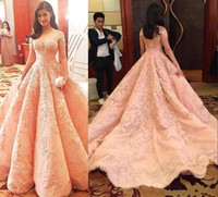 Vestidos de fiesta de lujo en color rosa 2019 Manga corta con apliques de encaje Árabe Dubai Vestido de fiesta Una línea Vestidos de noche largos y delicados formales BA6255