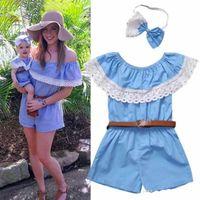 الأم وابنتها الأسرة مطابقة الأم الاطفال القطن رومبير الملابس الأزرق الدانتيل قصيرة بذلة حزام الأم الأطفال ملابس ملابس الصيف