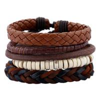 5a8b46398f3 Wholesale woven mexican leather bracelets for sale - 5PCS Bracelet Set  Vintage Brown Color Woven Adjustable