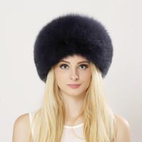Inverno Unisex Genuine Fox Fur Hat Vera pelliccia Bomber Hat With Nature Corona in pelle spessa Caldo cappello di pelliccia russa
