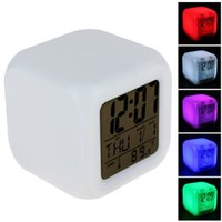 Cube Colorful Glowing 7 Led Colors Changing Digital Alarm Cl...