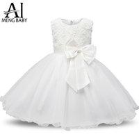 Ai Meng Baby Flower Princess Girl Dress Wedding Primo compleanno Neonato Battesimo vestiti Toddler Bambini Abiti da festa per le ragazze