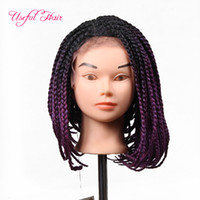 braided lace front wig 14inch lace frontal Bob wigs for natu...